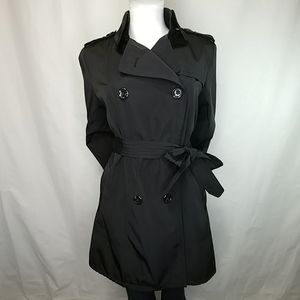 Vince Camuto Fitted Black Belted Trench Coat Sz M